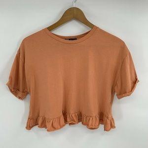 Zara Cropped Top Orange Ruffle Shirt Short Sleeve